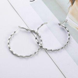 3/$20 Silver Wavy Hoop Earrings NEW